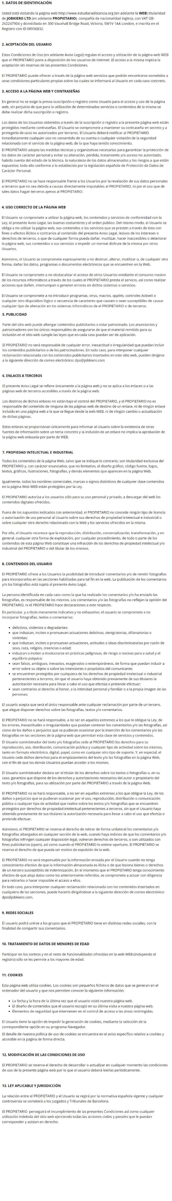 texto condiciones de uso de la web estudiar a distancia